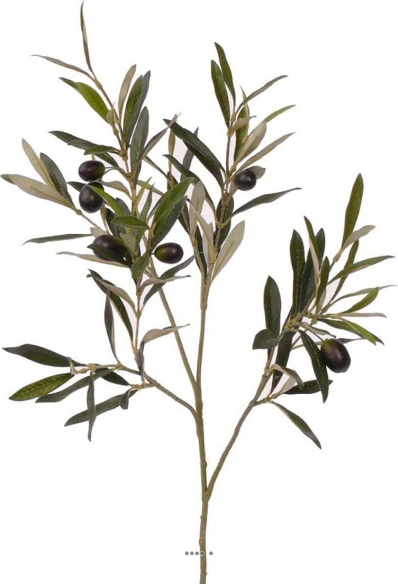 Branche d olivier artificiel h 50 cm 104 feuilles 6 olives for Arbre factice