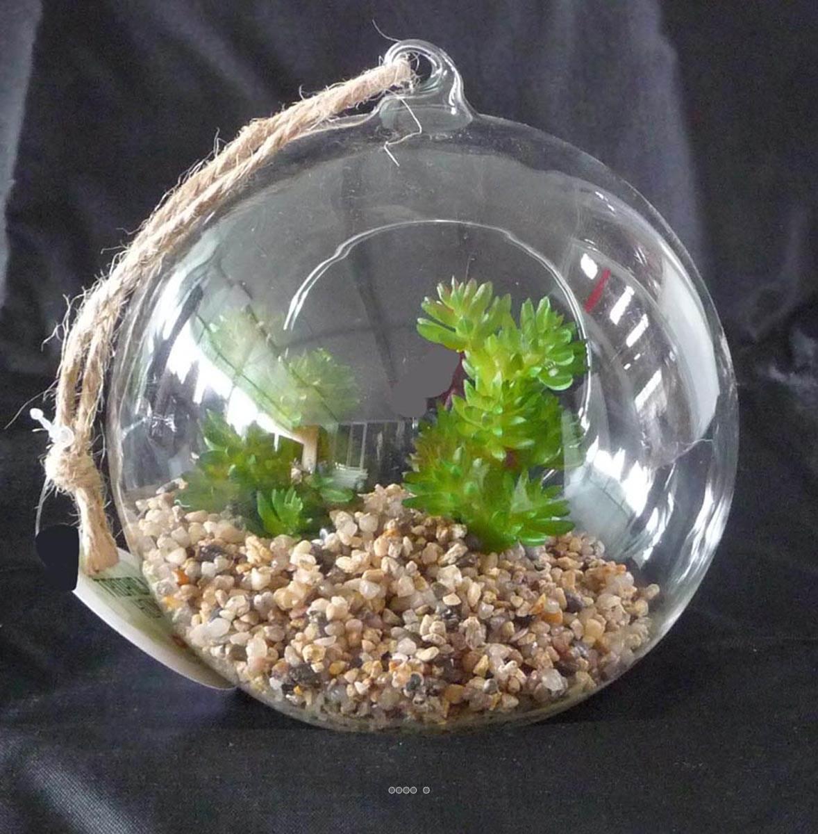plante grasse artificielle succulente cactee en bulle de verre avec corde du site. Black Bedroom Furniture Sets. Home Design Ideas