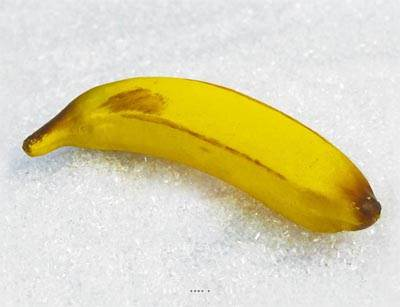 Banane artificielle en lot de 3 en Plastique soufflé L 150x35 mm