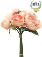 Bouquet de Pivoines artificielles, 8 têtes, D 28 cm, H 34 cm, Rose pâle - BEST
