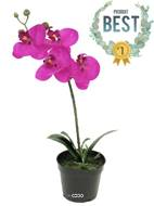 Orchidée Phalaenopsis artificielle en pot qualité décorateur H 35 cm Rose fushia - BEST