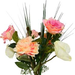 Bouquet artificiel création fleuriste H 70 cm rose sentimental