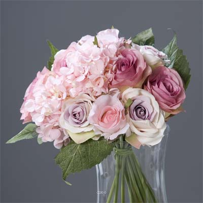 Bouquet de Roses et Hortensias artificielles Rose 13 tetes Diametre 28 cm