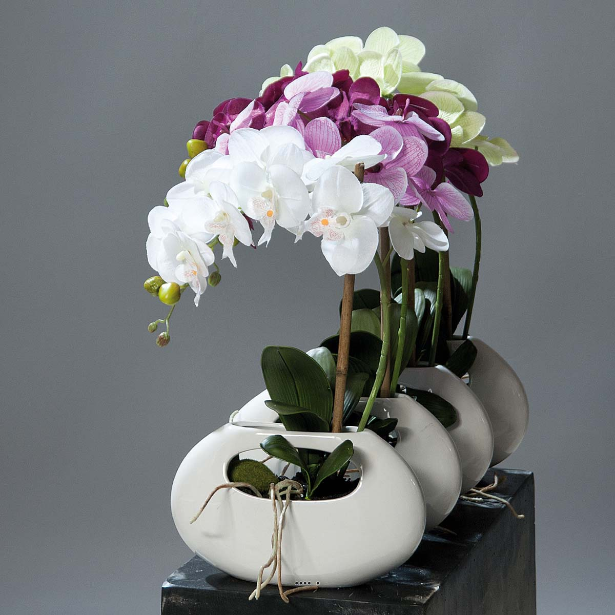 Orchidee artificielle Creme 1 hampe pot Ceramique Blanc oval H 43 cm