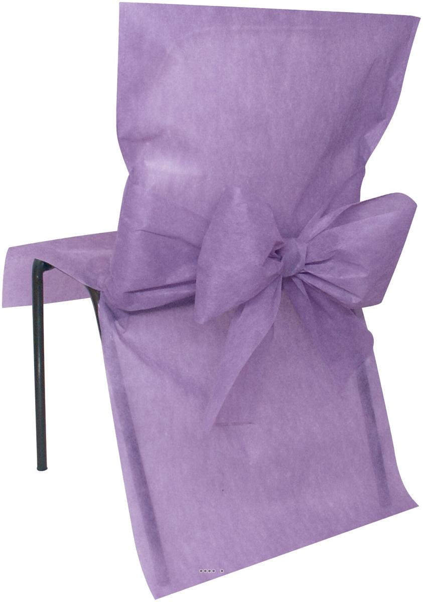 Housses de chaise x10 avec noeud tissu non tiss 50 cm x for Housse de chaise tissus