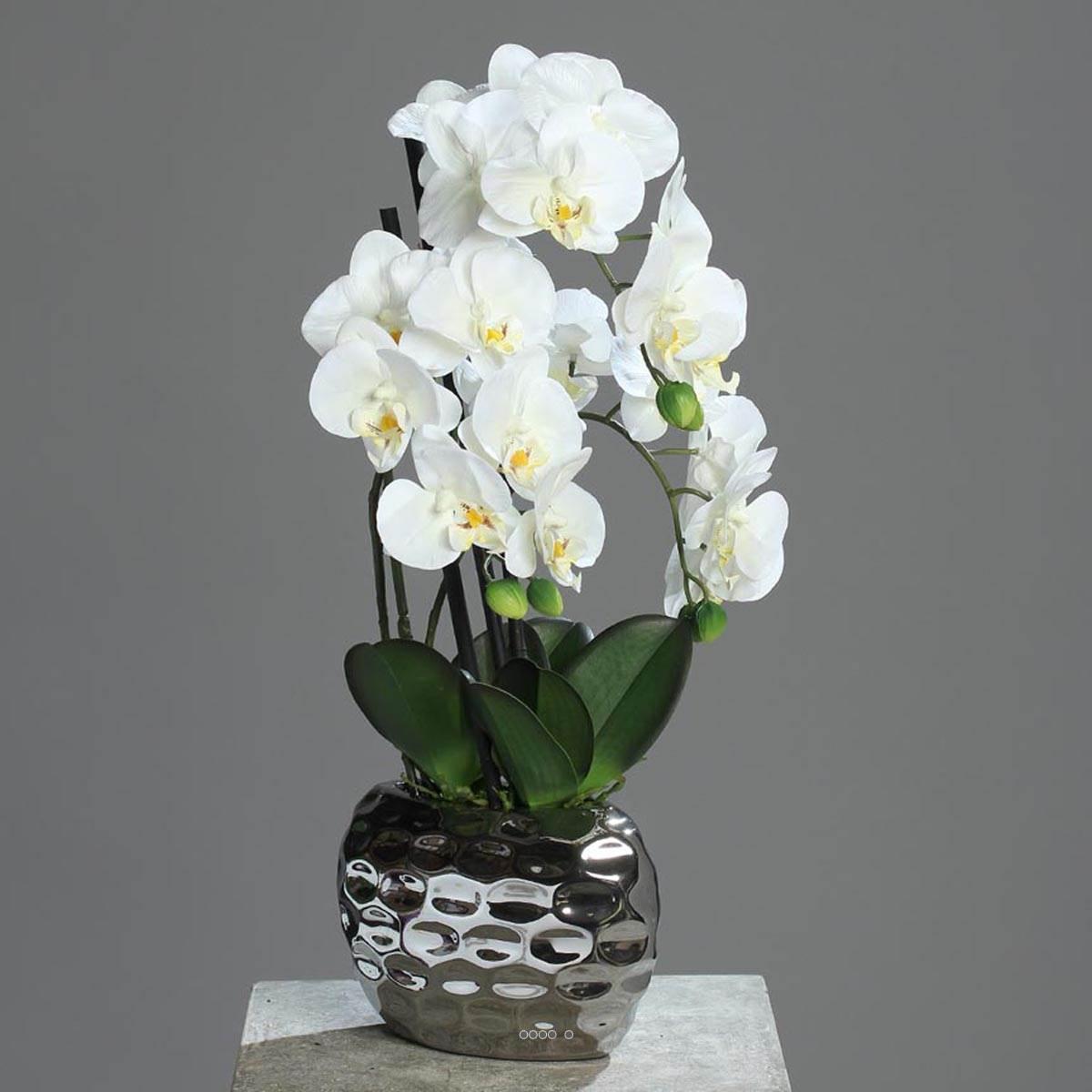 orchidee artificielle 3 hampes en pot ceramique argent h 55 cm. Black Bedroom Furniture Sets. Home Design Ideas