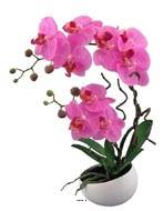 Orchidee artificielle 2 hampes en coupe ceramique H 45 cm toucher reel Rose fushia
