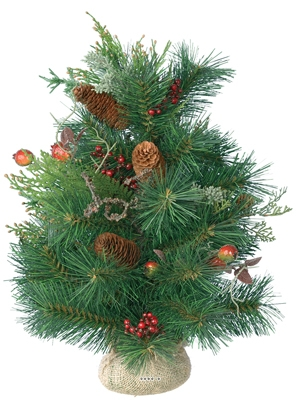 Sapin avec baies en sac jute 50cm artificiel