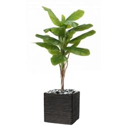 Bananier artificiel en pot Tronc naturel H 120 cm Vert