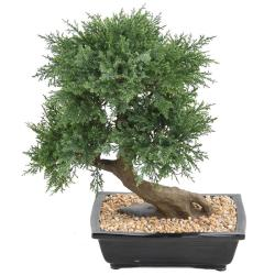 Bonsaï Genévrier Artificiel H 55 cm D 50 cm en pot