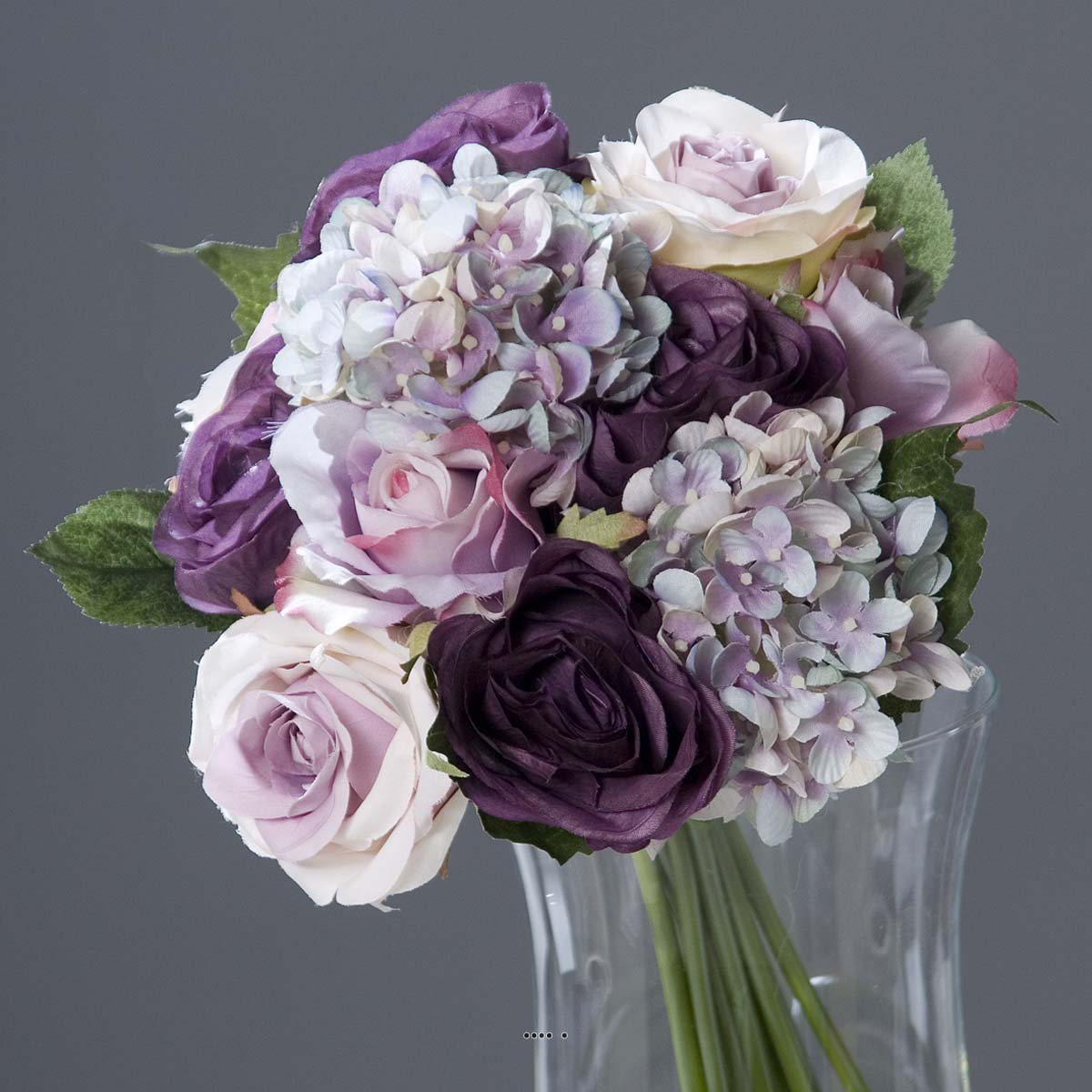 Bouquet de roses et hortensias artificielles 13 t tes d 28 x h 35 cm du site - Bouquet de rose artificielle ...