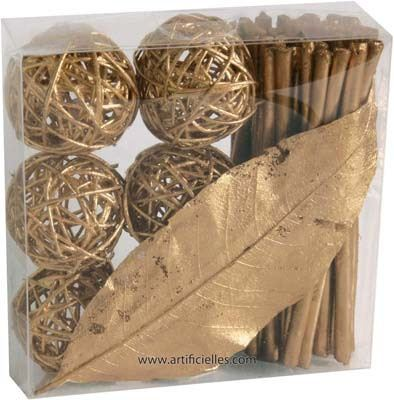 Kit Deco Rotin Or : 6 fagots 6 boules 1 feuille