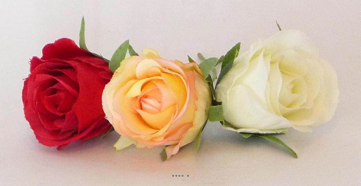 Tete de rose artificielle d 5 cm sur tige ideale mariage for Rose artificielle