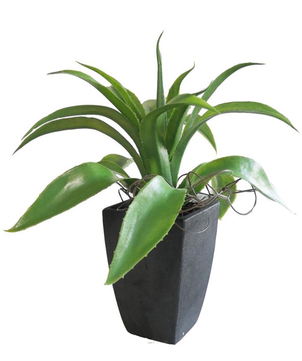 Plante Haute En Pot agave succulente plante artificielle cactee en pot h 29 cm vert type a