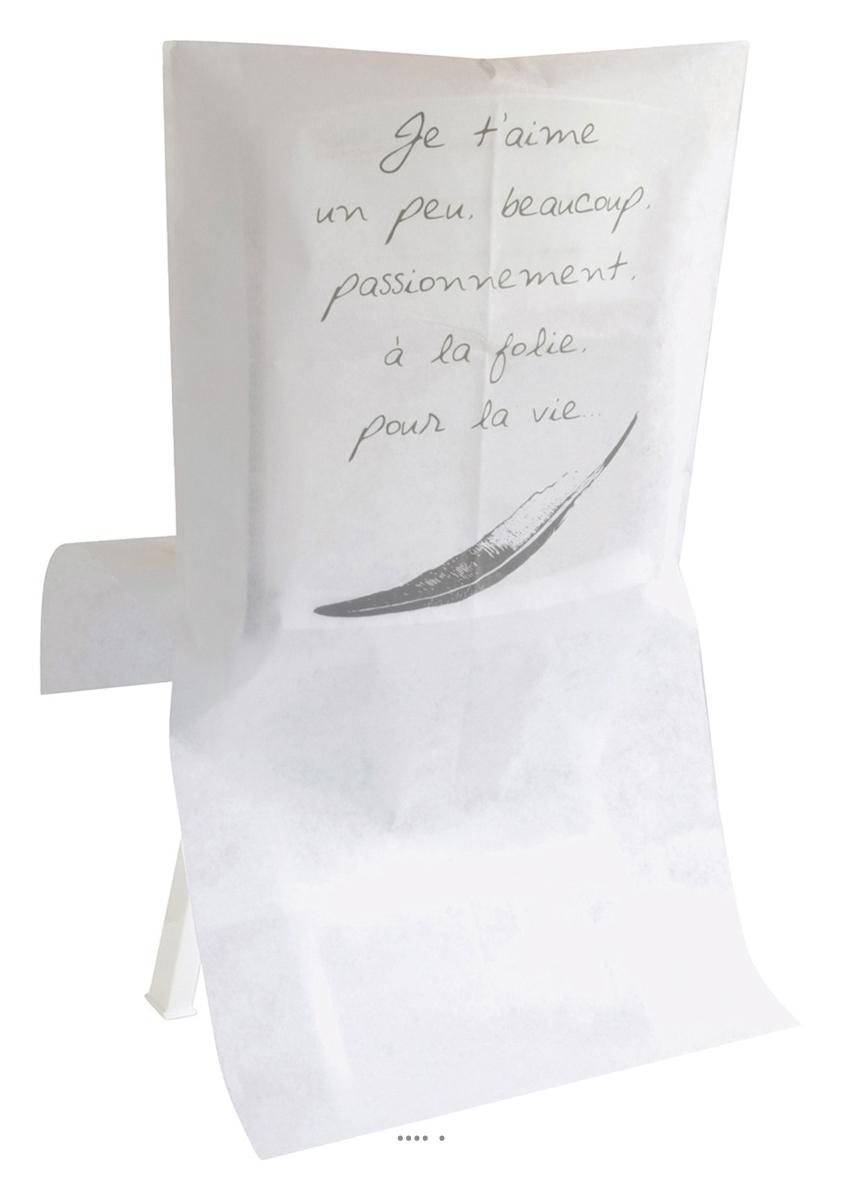 Housses de chaise blanc je t 39 aime x10 tissu non tiss 50 for Housse de chaise blanc