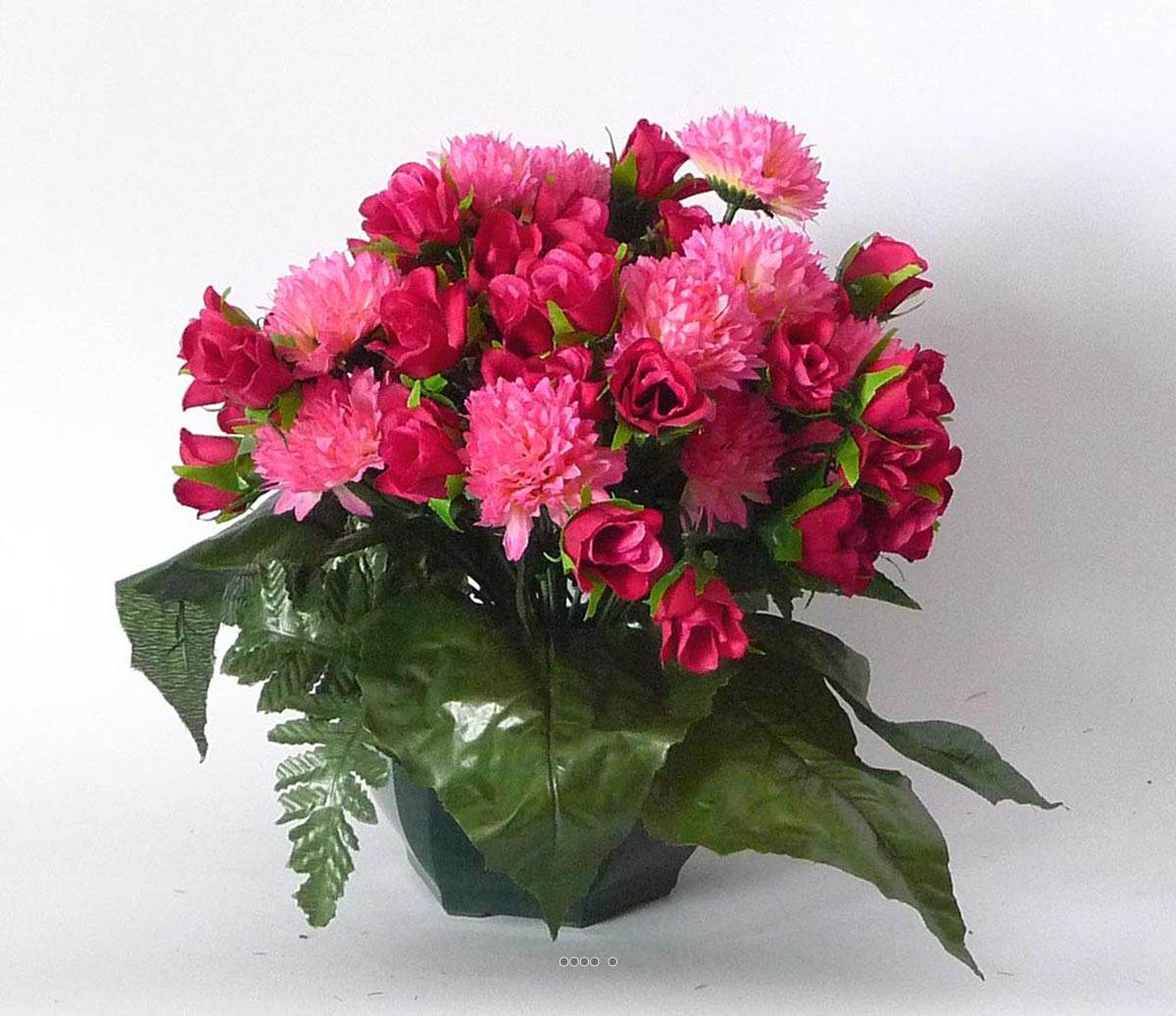 Pot composition de chrysantheme et rose artificiel leste for Plante fushia exterieur