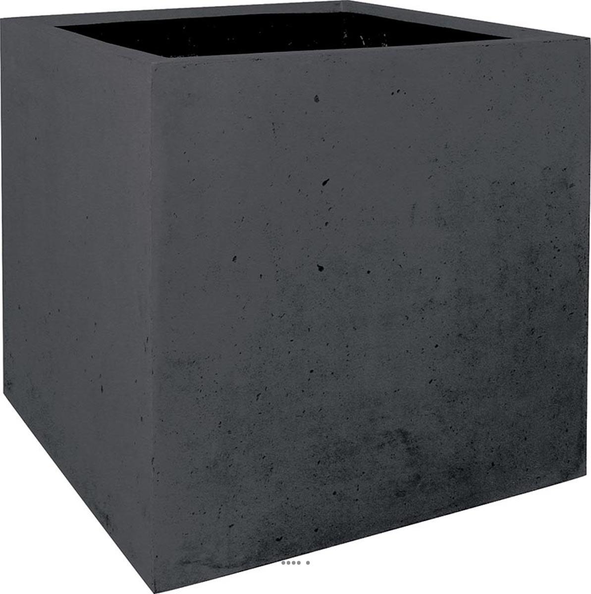 Pot De Fleur Haut Pas Cher bac en polystone roma ext. cube l 18x 18 x h 18 cm noir