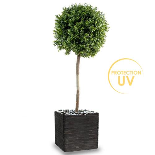 Buis boule artificiel H 140 cm D 50 cm Anti UV 2000H tronc naturel Int Ext en pot