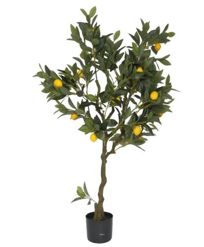 Citronnier en pot artificiel avec fruits H 120 cm Jaune citron