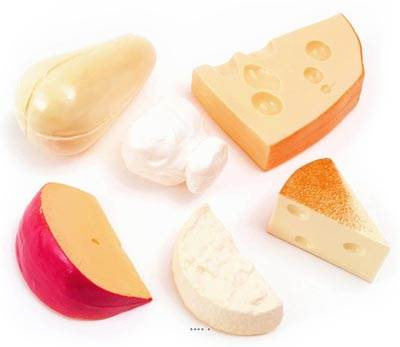 Fromages artificiels assortis base Italie en lot de 6 en Plastique soufflé