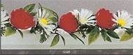 Barrette x12 séparateurs socle blanc L25cm marguerites & roses factice