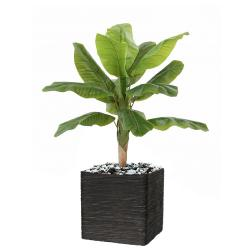 Bananier artificiel en pot Tronc naturel H 100 cm Vert