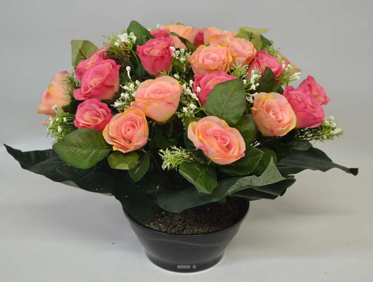 Composition vasque rose gypso artificielle lest e pour for Plante fushia exterieur