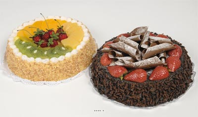 Gateaux aux fruits assortis factices X2 H 9 cm et D 23 cm bluffant en mousse