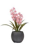 Orchidée cymbidium artificielle en pot, H 45 cm Rose