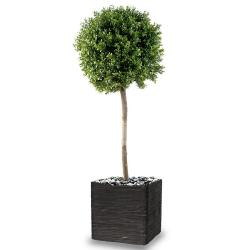 Buis boule artificiel H 140 cm D 50 cm tronc naturel Int Ext en pot