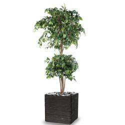 Ficus artificiel double boule H 150 cm Vert en pot