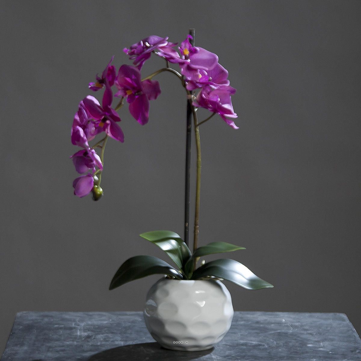orchidee artificielle 1 hampe en pot ceramique blanc h 46. Black Bedroom Furniture Sets. Home Design Ideas