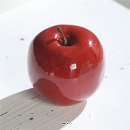 Pomme artificielle rouge brillante D9cm Superbe en Decoration