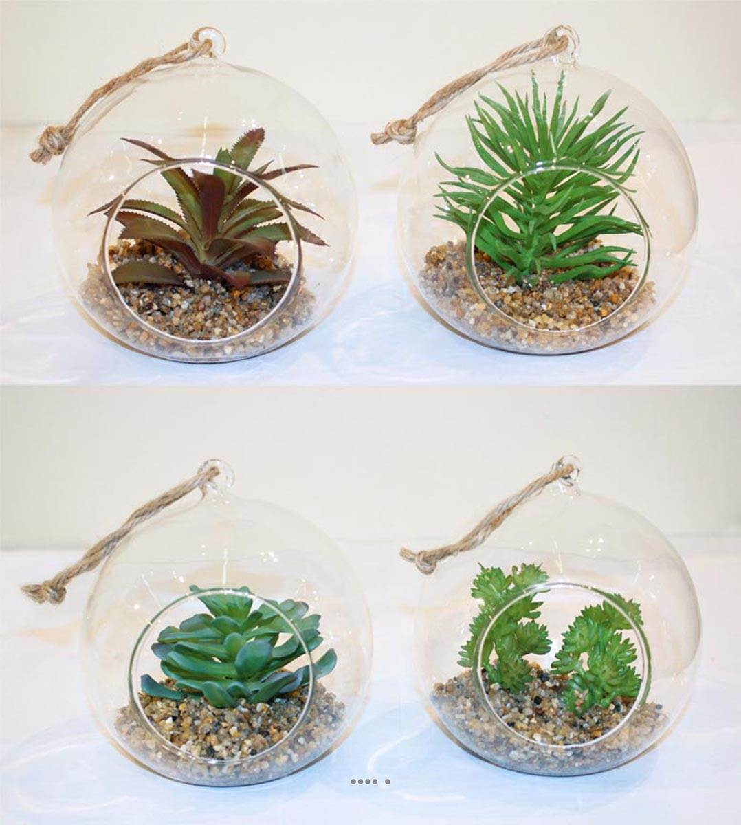 plante grasse artificielle succulente cactee en bulle de verre avec corde du site. Black Bedroom Furniture Sets. Home Design Ideas