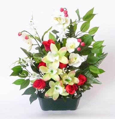 composition jardiniere orchidee artificielle lestee pour exterieur h 55 du site artificielles