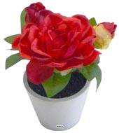 Roses artificielles en pot Blanc H 14 cm Composition adorable Rouge