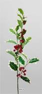 Branche de houx artificielle H 80 cm avec fruits rouges