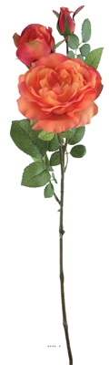 Rose artificielle ramifiee H 70cm D 6 10 cm orange profond Marble