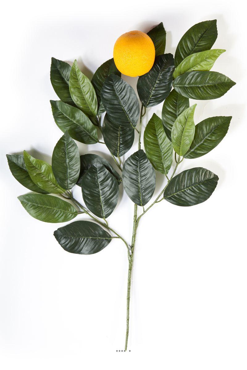 Branche oranger artificiel avec grosse orange h 60 cm 24 feuilles du site - Oranger du mexique feuilles jaunes ...