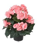 Begonia artificiel Rose tendre en pot H 28 cm superbe qualite