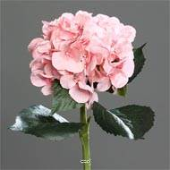 Hortensia artificiel en tige 1 tete 3 feuilles H 50 cm Top Rose beauty
