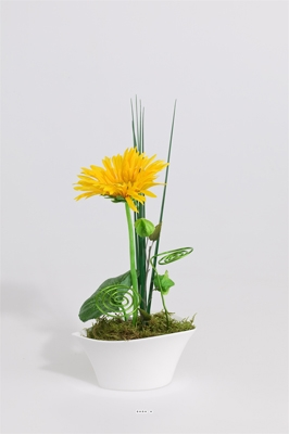 Composition Coupe Gerberas Artificiels vase porcelaine H 26 CM
