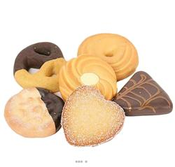 Biscuits secs artificiels X6 assortis aliment factice décoration