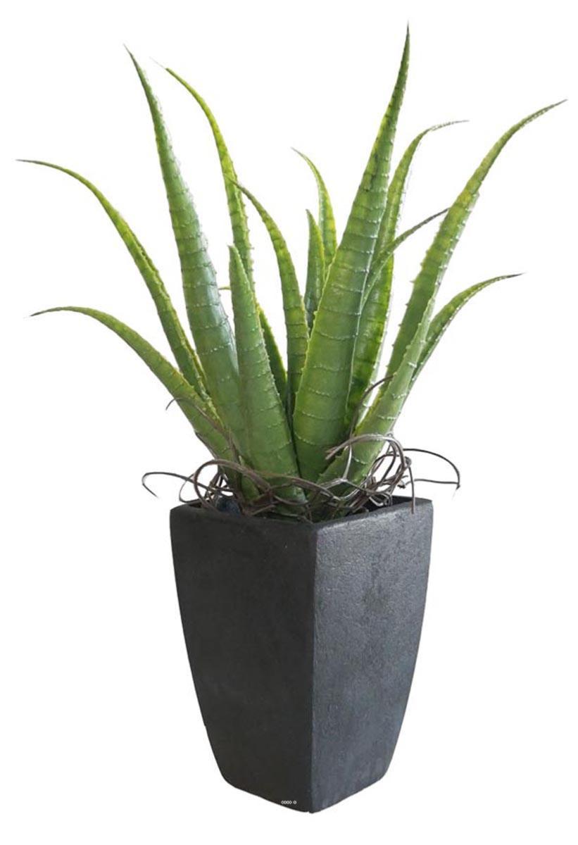 Plante Haute En Pot agave succulente plante artificielle cactee en pot h 36 cm vert type b