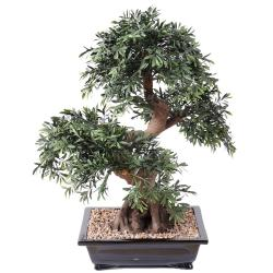 Bonsaï Saule Noir Artificiel H 70 cm D 60 cm en pot